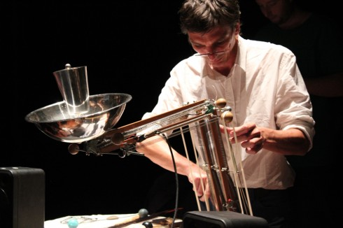 the Lamplayer Myster Shadow-Sky at STEIM performing his archisonic lamp (sept 2011)